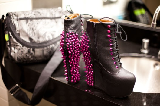 can't forget the shoes! Jeffrey Campbell Damsel Spikes in Pink